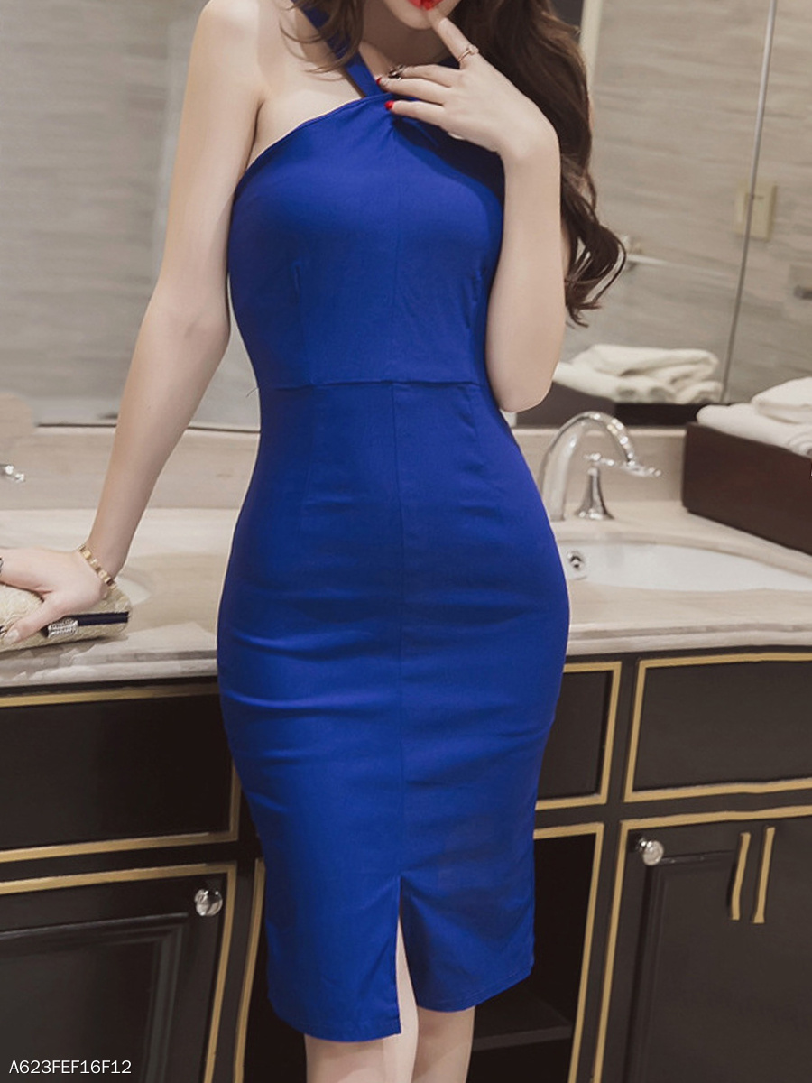 V-Neck Slit Solid Bodycon Dress