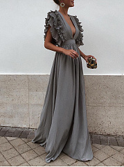 Deep V-Neck  Plain Evening Dress