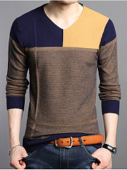 V-Neck Color Block Fleece Lined MenS Sweater