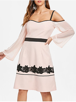 Spaghetti Strap  Contrast Trim Decorative Lace  Plain Skater Dress