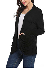 Draped Pocket Plain Roll-Up Sleeve Cardigan
