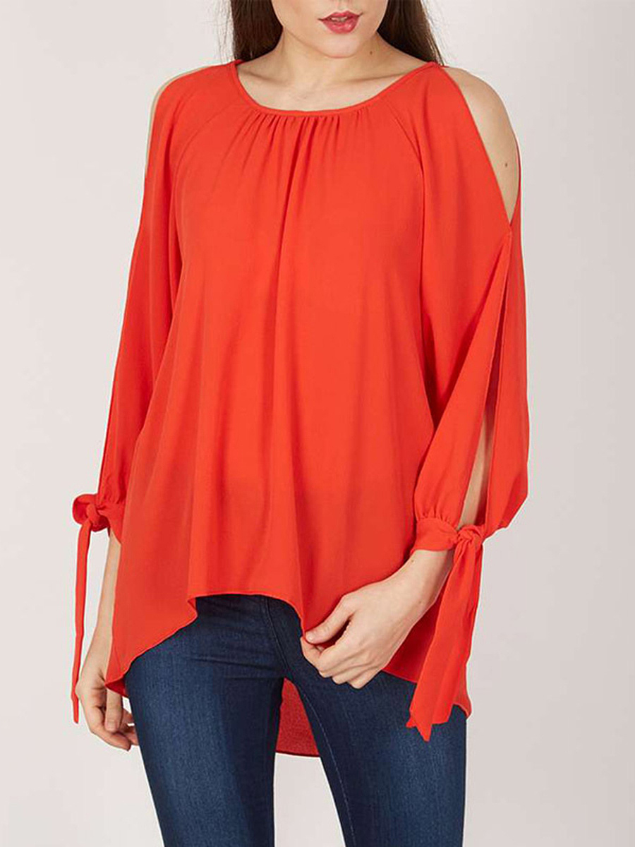 Round Neck  Hollow Out Plain Long Sleeve T-Shirts