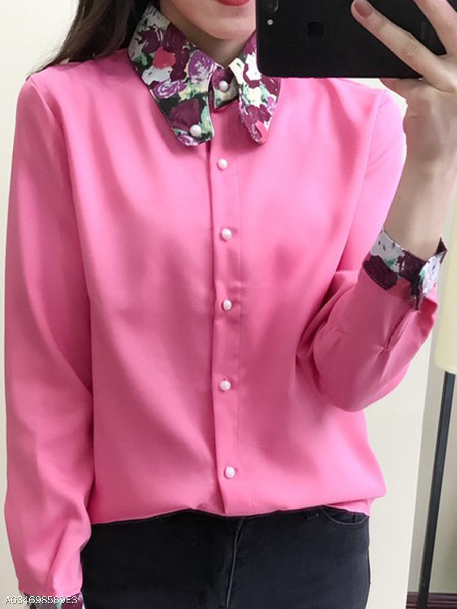 Autumn Spring  Chiffon  Women  Fold-Over Collar  Single Breasted  Abstract Print  Long Sleeve Blouses
