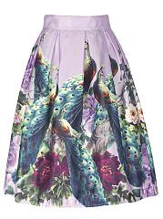Peacock-Floral-Printed-Flared-Midi-Skirt
