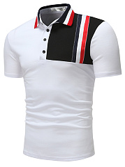 Contrast Piping  Color Block  Short Sleeve Polos