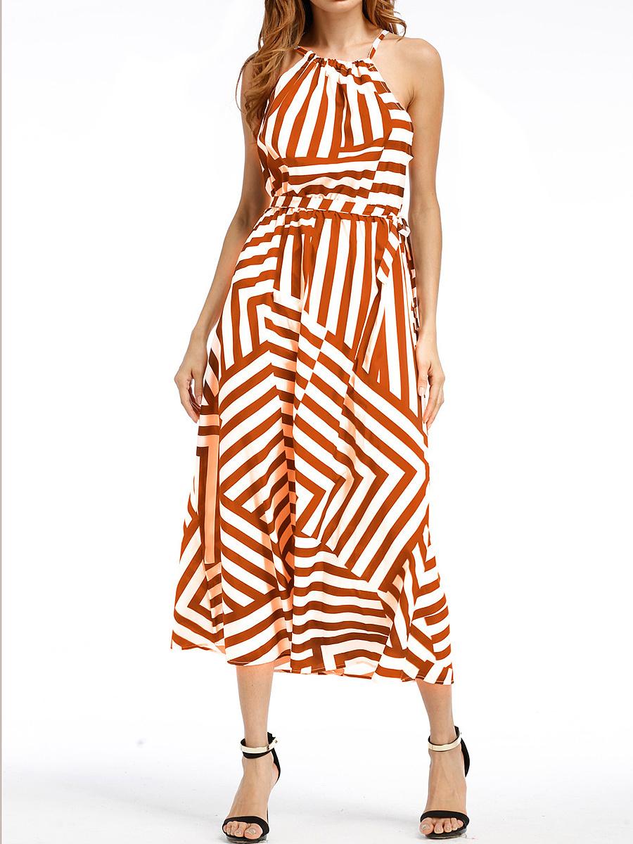 Spaghetti Strap  Printed Maxi Dresses
