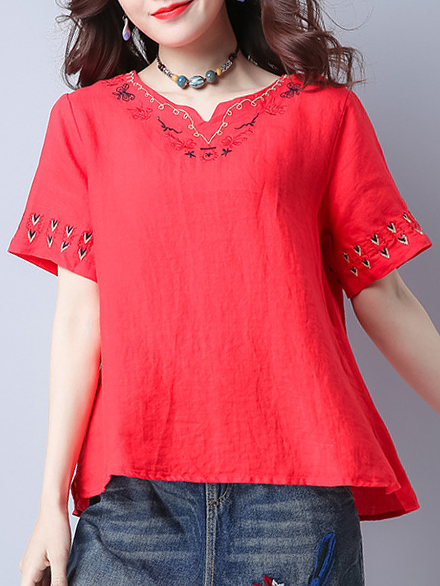 Split Neck Embroidery Elegant Short Sleeve T-Shirt