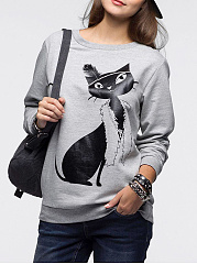 Round Neck  Animal Prints Sweatshirt