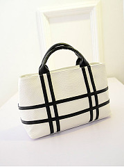 Color Block Plaid Pu Shoulder Bag