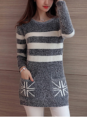 Round Neck  Patch Pocket  Striped Pullover