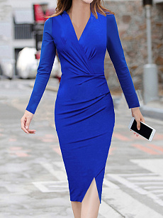V-Neck  Slit  Plain Bodycon Dress