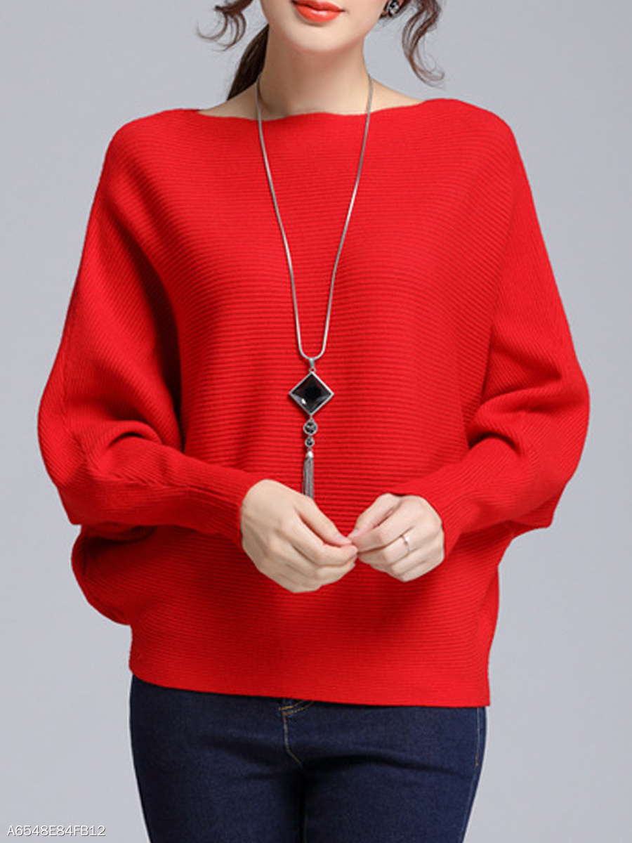 Boat Neck  Plain  Batwing Sleeve Sweater