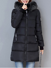 Hooded Zips Pocket Letters Longline Padded Coat