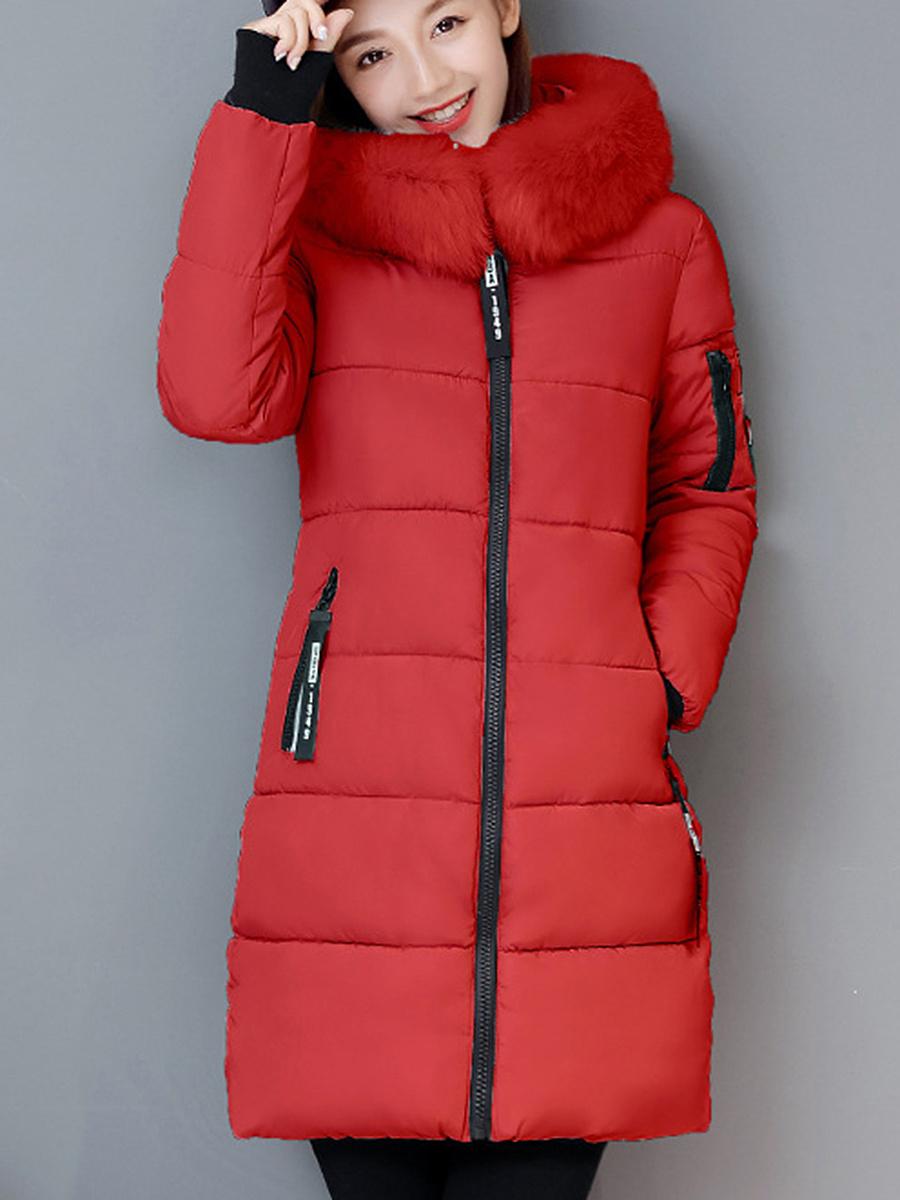 Hooded Zips Pocket Letters Longline Padded Coat