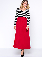 Round Neck  Color Block Striped Plus Size Maxi Dress