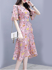 Sweet Heart  Asymmetric Hem  Floral Printed  Bell Sleeve Shift Dress
