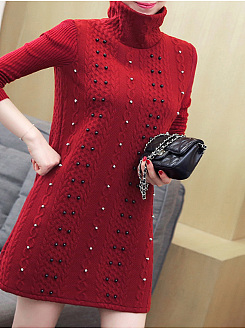 High Neck  Beading  Plain  Polyester Sweaters