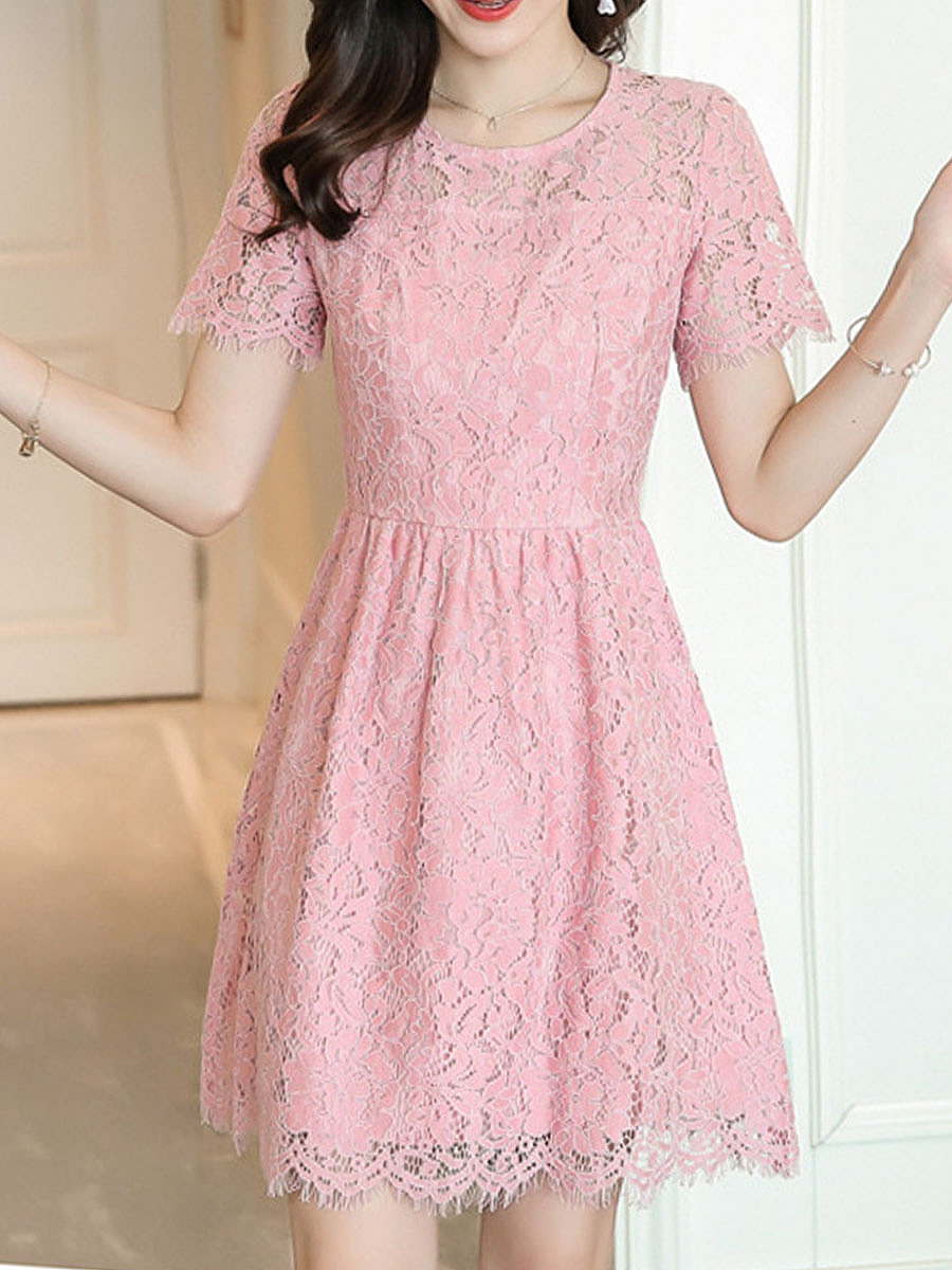 Round Neck Lace Blend Skater Dress