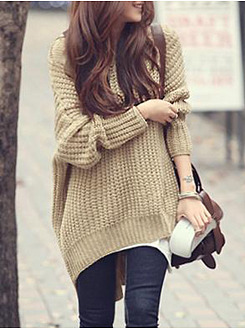 Hooded Plain Batwing Sleeve Pullover