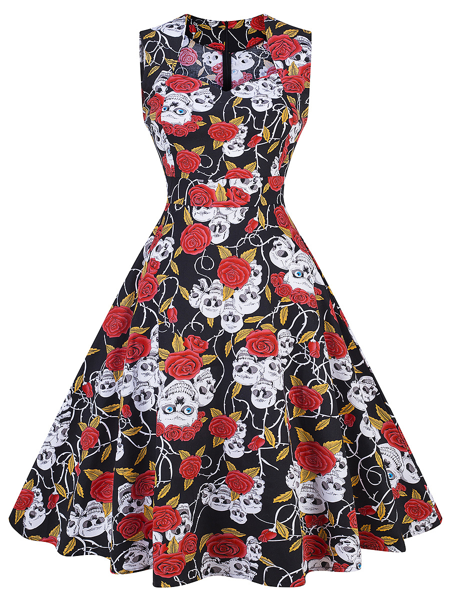 Halloween Skull Floral Printed Sweet Heart Skater Dress