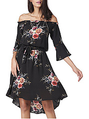 Off Shoulder  Printed Skater Dress