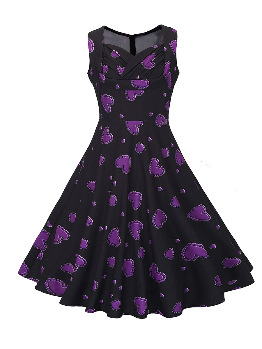 Sweet Heart Pleated Bodice Heart Printed Skater Dress