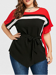 Round Neck  Patchwork Peplum  Color Block  Batwing Sleeve  Short Sleeve Plus Size Blouses