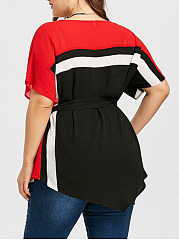 Round Neck  Patchwork Peplum  Color Block  Batwing Sleeve  Short Sleeve Plus Size T Shirt