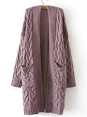 Knit Embossed Twist Pattern Long Sleeve Cardigans