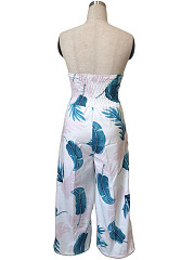 Strapless Feather Printed Wide-Leg Jumpsuit