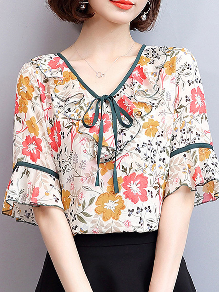https://www.fashionmia.com/Products/summer-polyester-women-round-neck-bowknot-floral-bell-sleeve-short-sleeve-blouses-218156.html