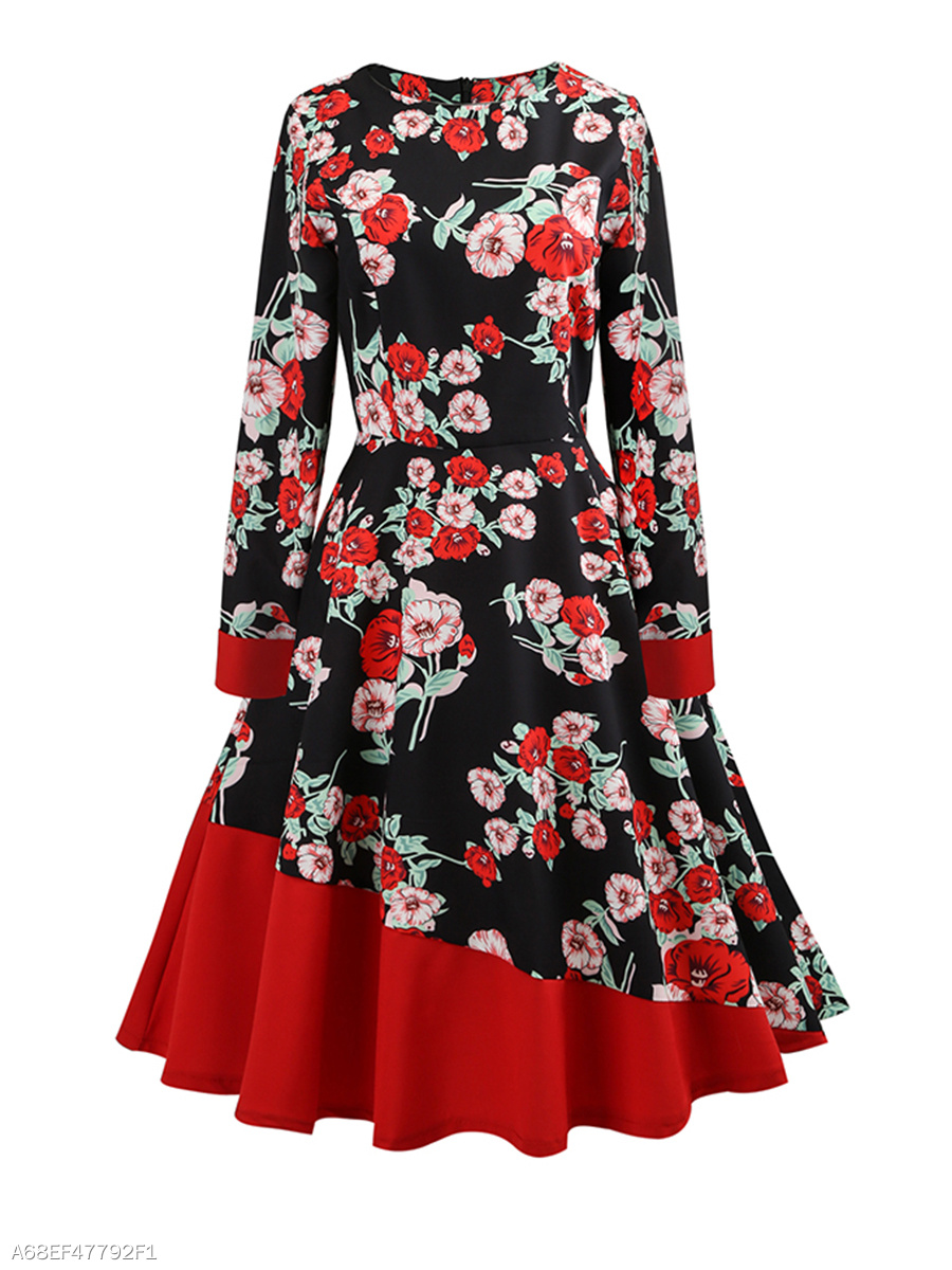 Round Neck  Color Block Printed Skater Dress
