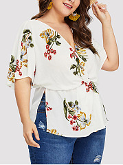 Deep V-Neck  Drawstring Elastic Waist  Printed  Short Sleeve Plus Size Tops