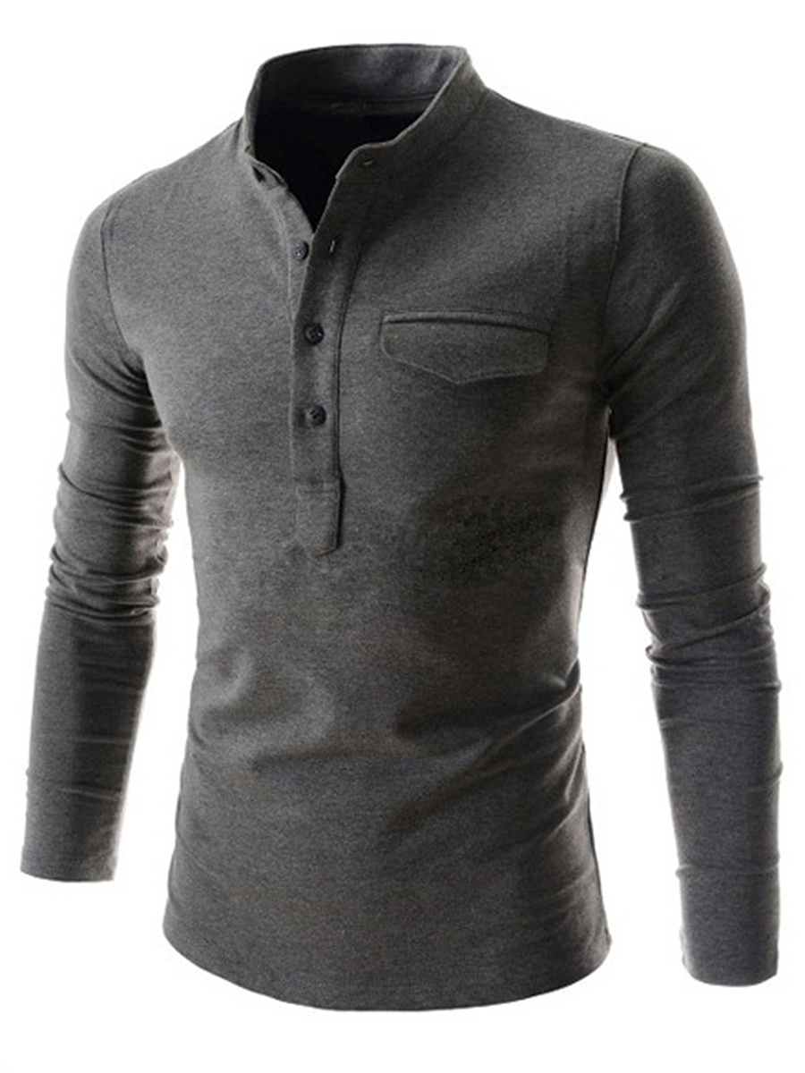 Band Collar Men Plain Long Sleeve T-Shirt