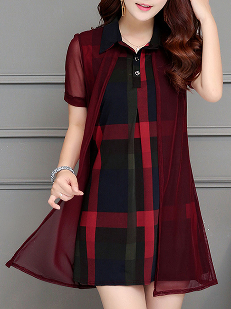 Polo Collar Hollow Out Plaid Shift Dress