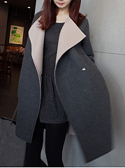 Lapel Pocket Plain Woolen Coat