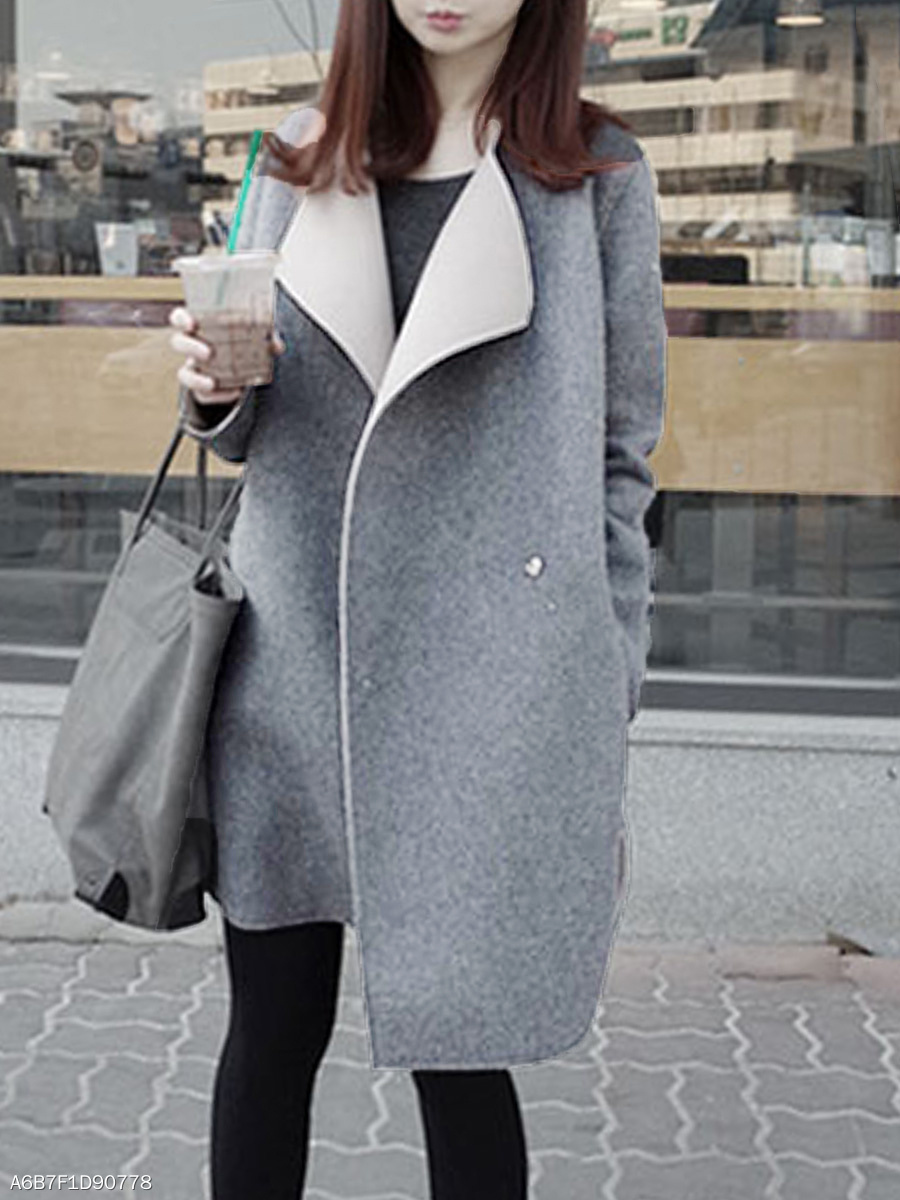 Lapel  Slit Pocket  Plain  Long Sleeve Coats