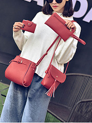 Four Pieces Bags Plain Pu Crossbody Bag
