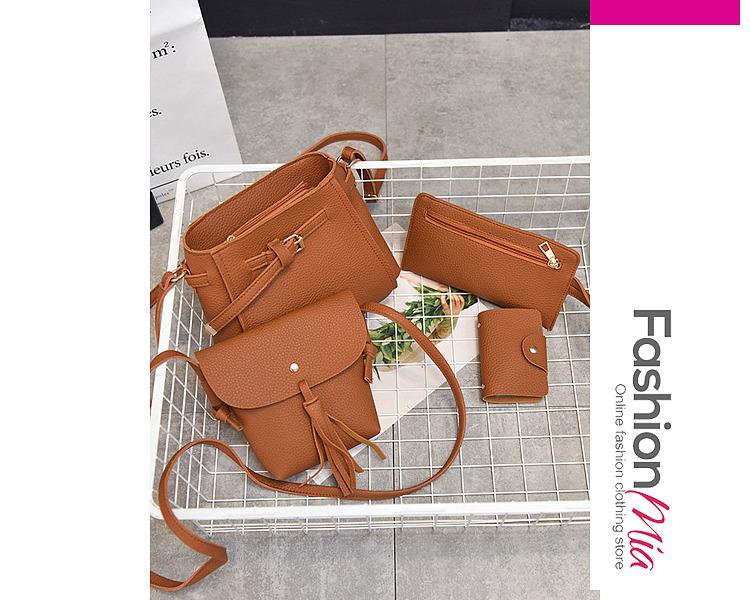 Four Pieces Bags Plain Pu Crossbody Bag