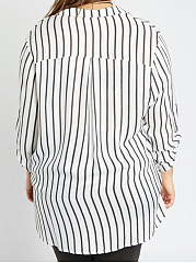 Split Neck  Vertical Striped  Roll-Up Sleeve  Three-Quarter Sleeve Plus Size Tops