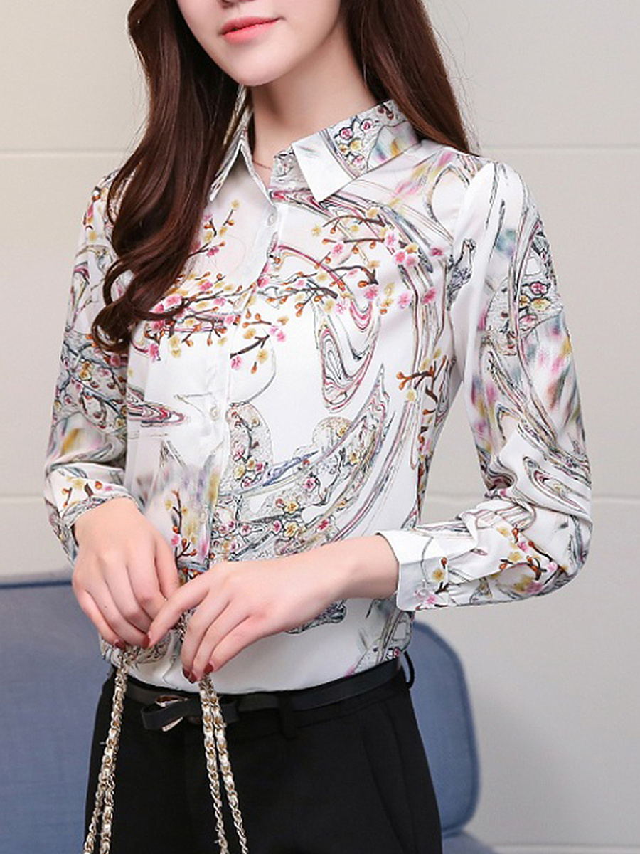 Turn Down Collar Printed Long Sleeve Blouse