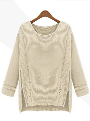 Round Neck Zips Embossed Plain Sweater