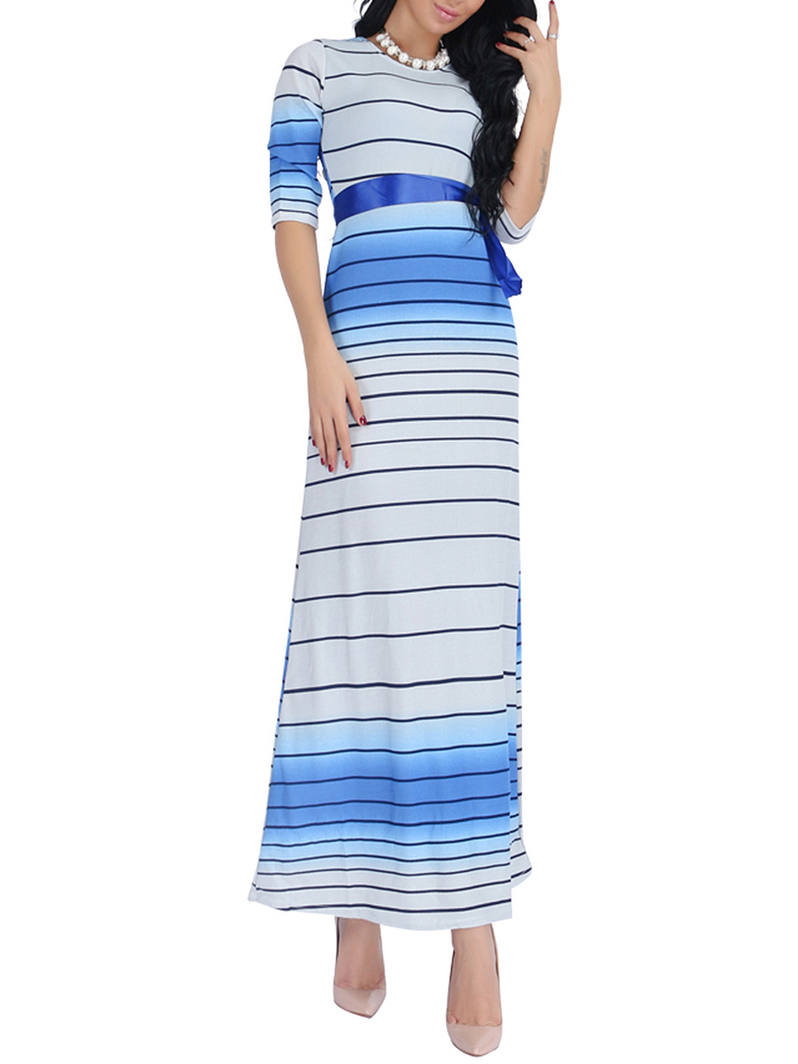 Gradient Striped Round Neck Maxi Dress