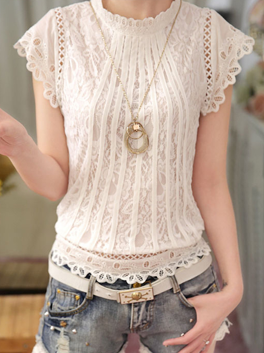 Band Collar Plain Lace Hollow Out Blouse