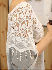 Summer  Cotton  Women  Round Neck  Decorative Lace Tassel  Plain  Roll-Up Sleeve Short Sleeve T-Shirts