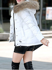 Hooded  Drawstring Zips  Plain  Long Sleeve Coats