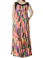 Sleeveless Round Neck Plus Size Maxi Dress In Colorful Printed