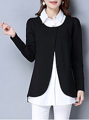 Turn Down Collar Color Block Plus Size Blouse