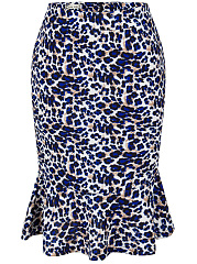 Leopard Mermaid Midi Skirt
