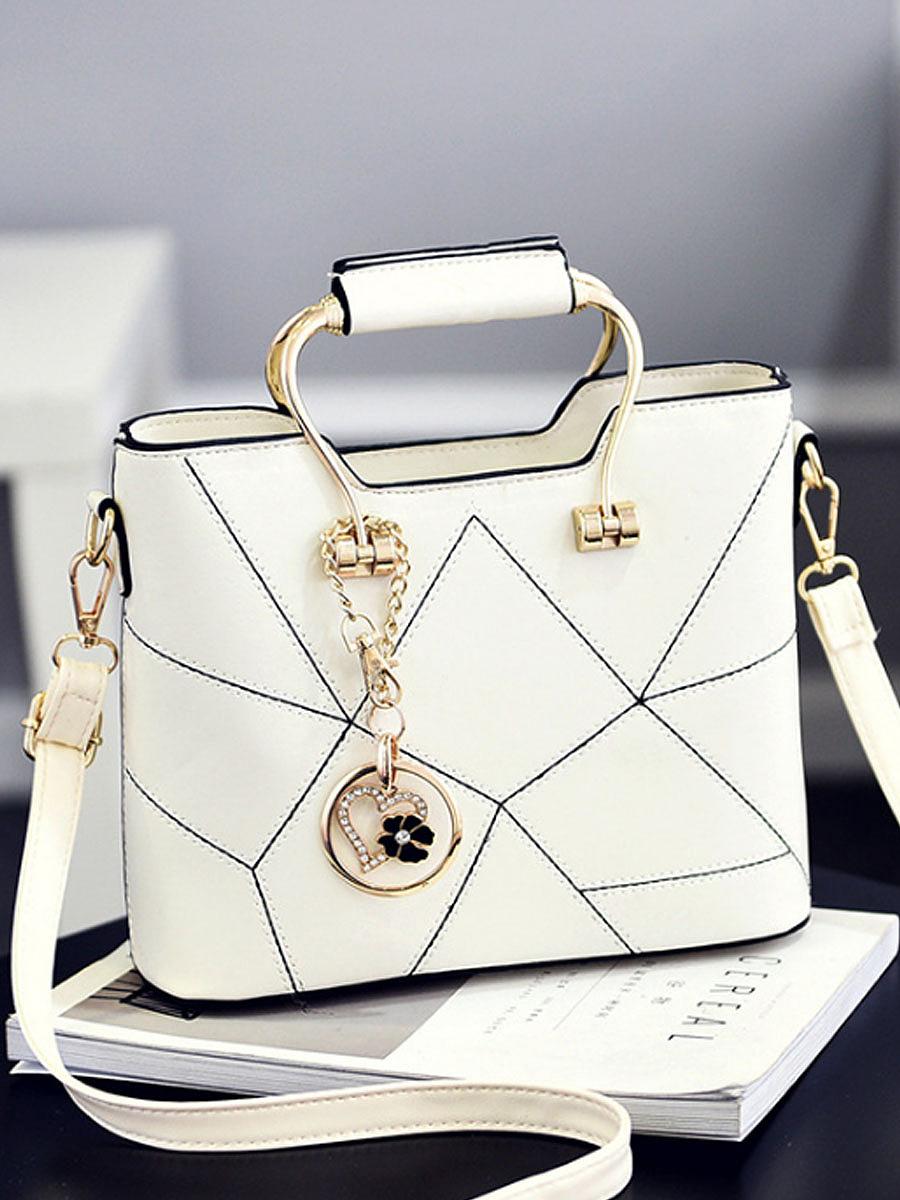 Geometric Patchwork Pu Crossbody Bag
